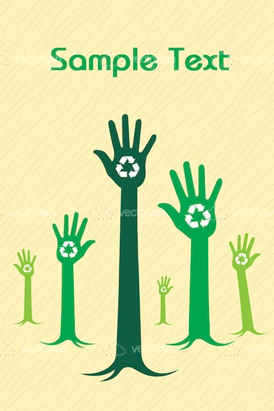 Abstract Hand-Shaped Trees with Recycle Symbols and Sample Text