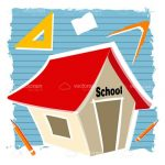 Abstract School House with School Supplies