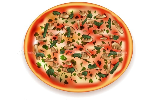 Illustrated Pizza with Colourful Topping