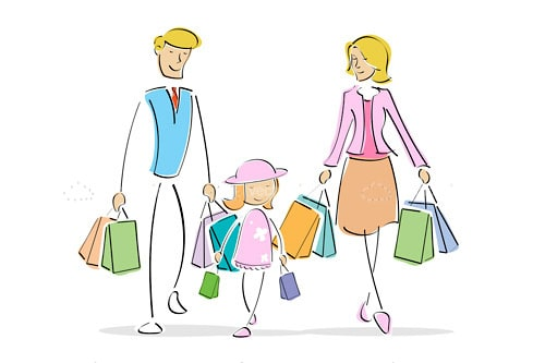 Abstract Family with Shopping Bags