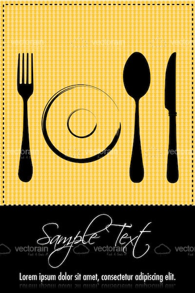 Abstract Plate and Cutlery with Sample Text