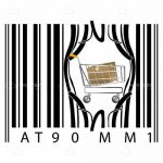 Shopping Cart with Box Coming Out of Barcode Background