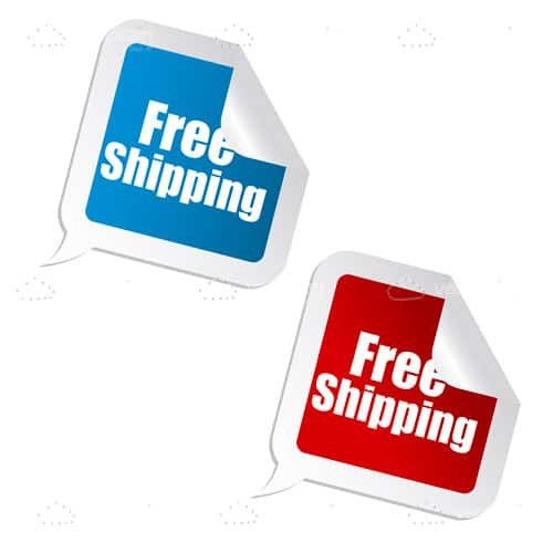 Red and Blue Free Shipping Stickers