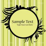Abstract Round Floral Frame with Sample Text on Striped Background