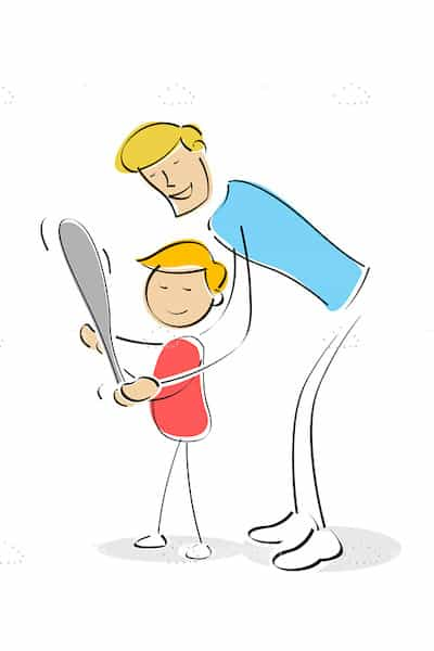 Father Teaching Son to Play Baseball in Sketch Style