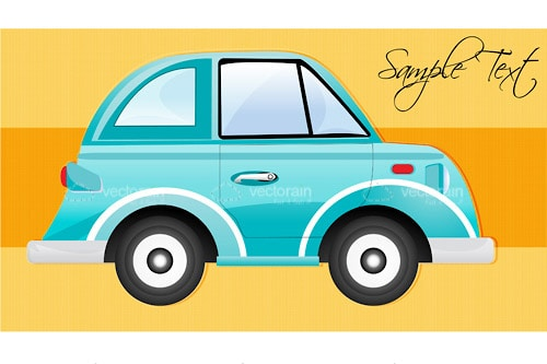Illustrated Car on Stripe Background with Sample Text
