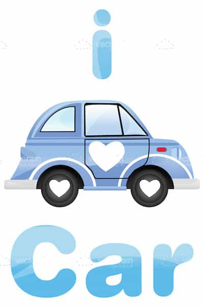 I Love Car Design with Blue Car and White Heart