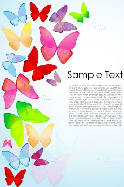 Multiple Coloured Butterflies on a Blue Background with Sample Text
