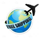 Free Shipping Icon with Globe and Silhouette Airplane