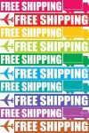 Colorful Free Shipping Tags with Abstract Planes and Trucks