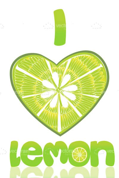 Heart Shaped Lemon in 'I <3 You' Background