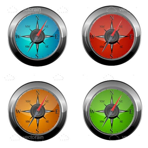 4 Pack of Compass Icons
