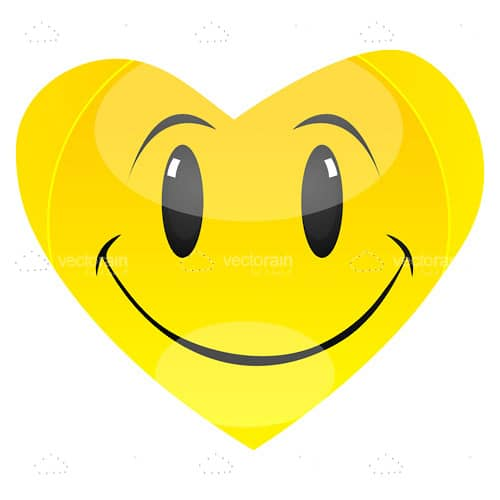 Yellow Heart Shaped Smiley