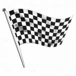 Checkered Racing Flag on a Pole with Wind Effect