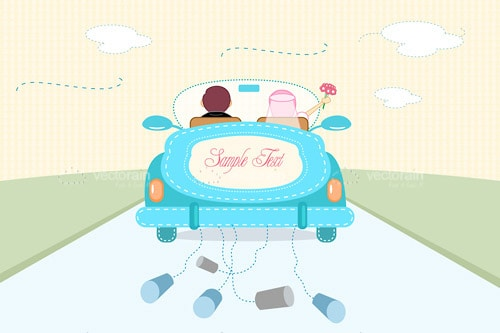 Just Married Couple in Convertible Car with Sample Text