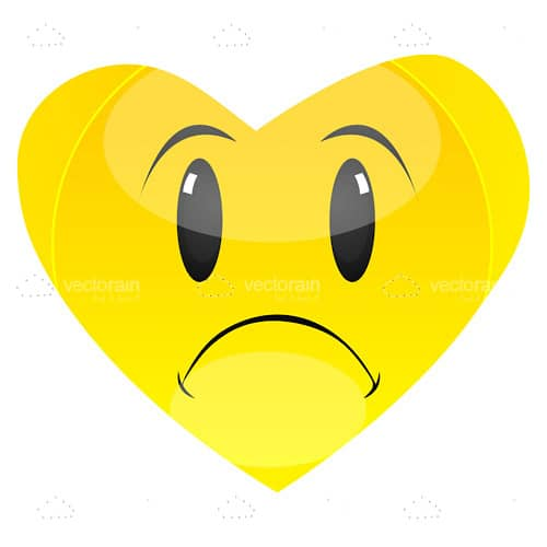 Illustrated Sad Yellow Heart