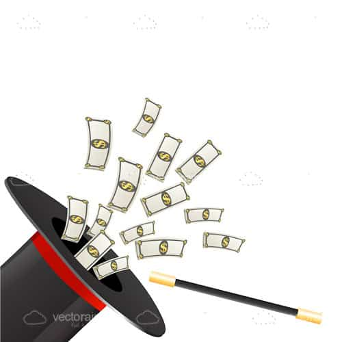 Magician Top Hat with Money Notes Coming Out of It