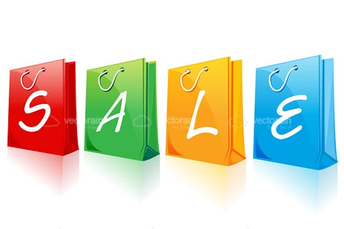 Sale Text with Colorful Shopping Bags