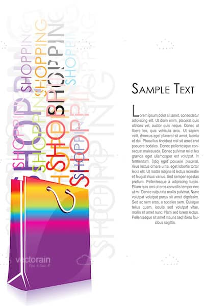 Shopping Background with Bag, Word Collage and Sample Text