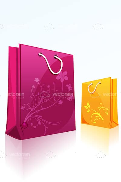 Colorful Shopping Bags with Floral Pattern
