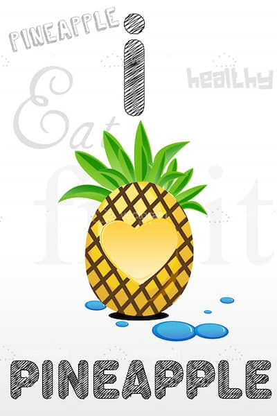 I Love Pineapple Theme with Pineapple and Text