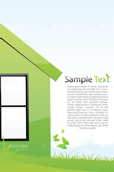 Abstract Green Coloured House with Sample Text