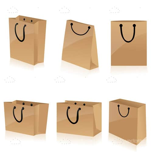 Brown Paper Bags Icon 6 Pack