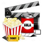 Movie Theme with Clapperboard, Soda Can and Popcorn