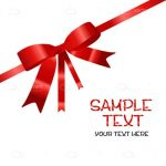 Red Ribbon on White Background with Stylised Sample Text