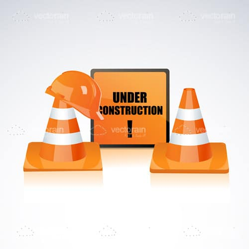 Under Construction Sign with Orange Cones and Hardhat
