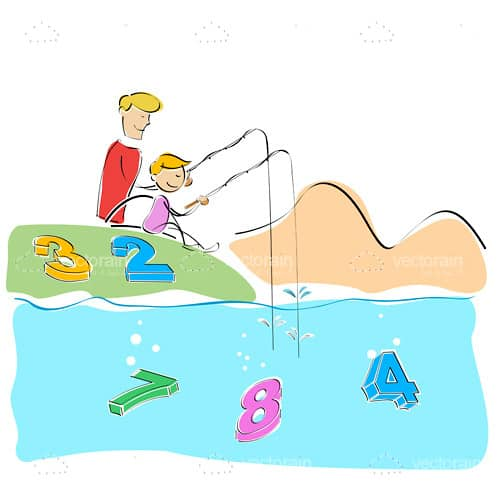 Illustrated Parent and Child Fishing for Numbers