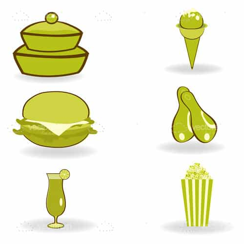 Green Food Icon Set