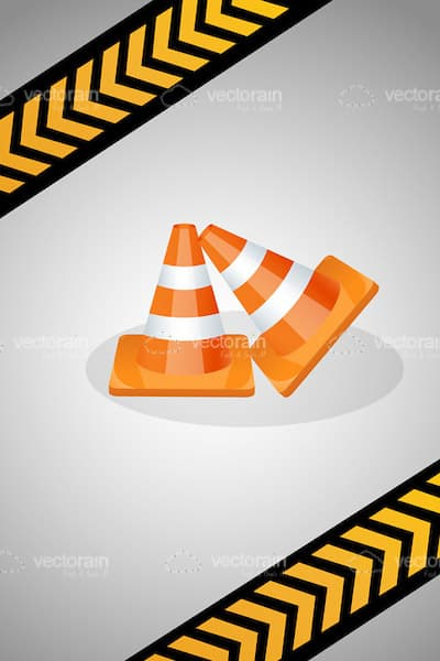 Pair of Traffic Cones on a Metal Background