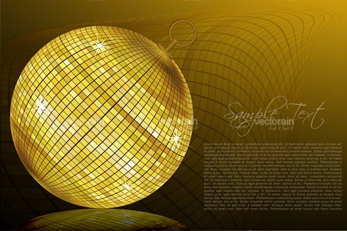 Shiny Gold Disco Ball in Abstract Background with Sample Text