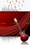 Guitar on Fancy Red Stage Curtain and Musical Notes