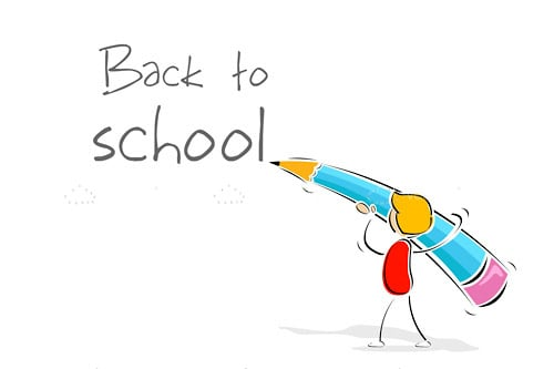 Abstract Girl with Giant Pencil and Back to School Text