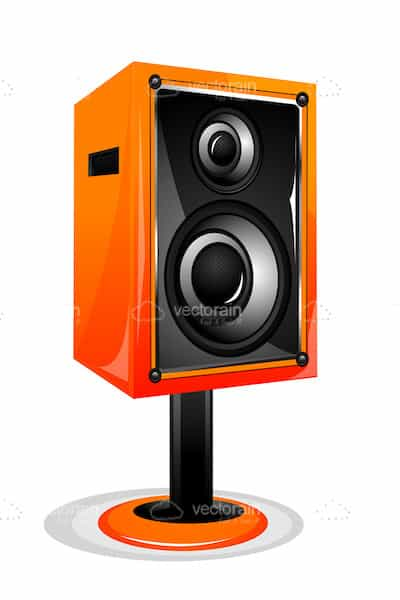 Orange and Black Sound Speaker on a Stand