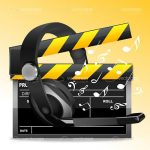 Clapperboard with Headset and Music Notes