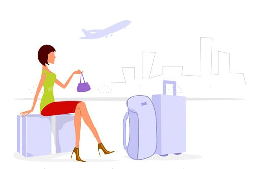 Abstract Woman with Luggage on Cityscape Background with Plane