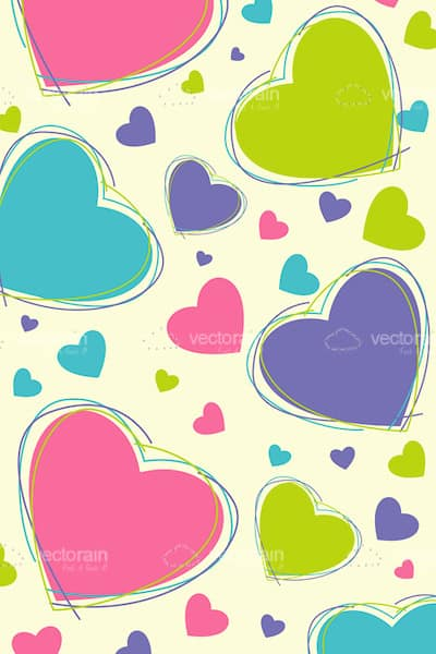 Lovely Background with Colorful Hearts Pattern