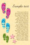 Beach Sandals on Sand with Sample Text