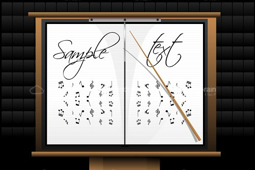 Music Sheet on Stand with Musical Notes, Conductor's Baton and Sample Text
