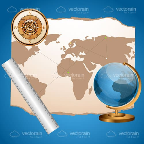 Parchment World Map with Earth Globe, Ruler and Compass