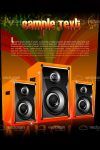 Set of Modern Sound Speakers in Colorful Abstract Background