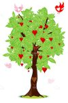 Illustrated Tree with Hearts and Birds