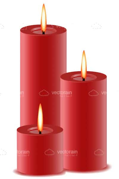Set of Red Lit Candles