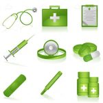 Green Medical Items Icon Set
