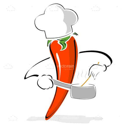 Red Pepper Cartoon with Chef Hat, Pot and Spoon
