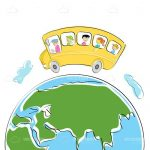 Illustrated School Bus with Kids on Earth Globe