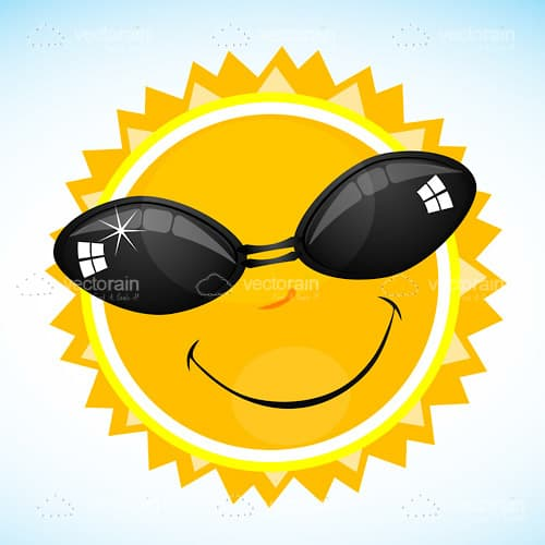 Smiling Cartoon Sun with Sunglasses